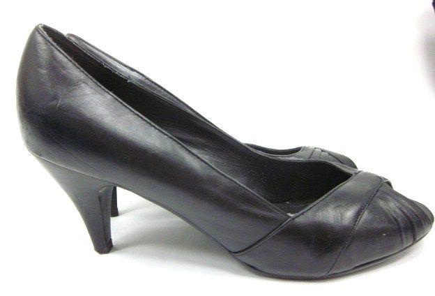 STEVE MADDEN Black Leather Open Toe Pumps Heels Sz 8.5