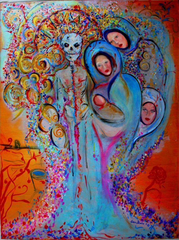 Art Abstract Contemporary Modern Skull Day of Dead Dia de los muertos