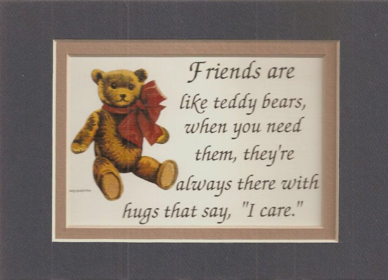 FRIENDSHIP Friends TEDDY BEARS HUG verses poems plaques