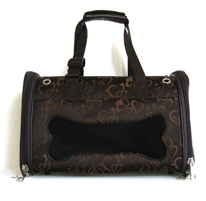 17.5Pet Carrier Luggage Dog Cat Travel Bag Purse Brown