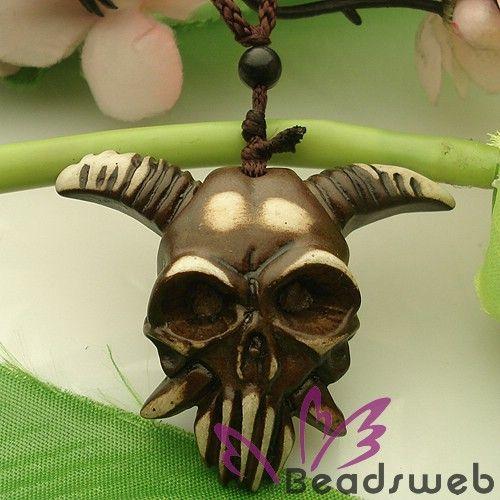 Tibetan Yak Bone Carving Goat Skull Necklace Pendant