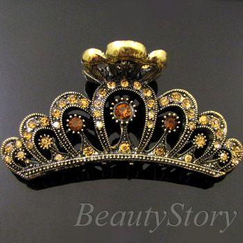 Item  1p rhinestone crystal Antiqued crown hair claw clip
