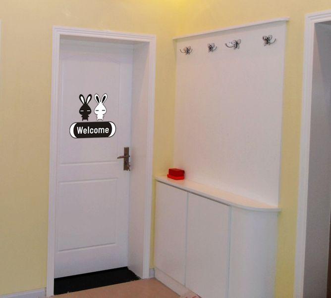 Rabbit Welcome Door Cabinet Decor Mural Wall Sticker Decal S004