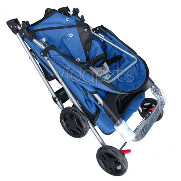 Navy Blue 4 Wheels Pet Dog Cat Stroller HEAVY DUTY