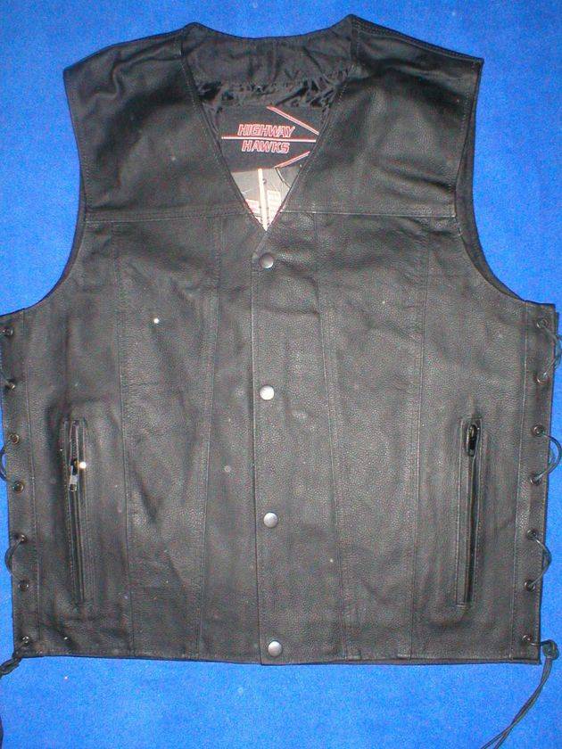 Mens Black Leather Motorcycle Biker VEST Concealed Gun Pocket S M L XL