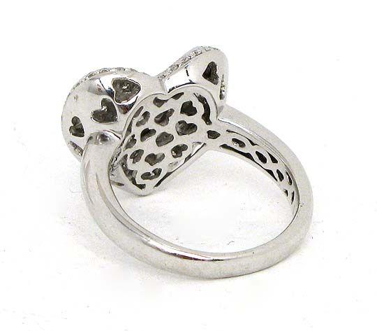 ELEGANT 18K WHITE GOLD & DIAMONDS HEART BAND RING