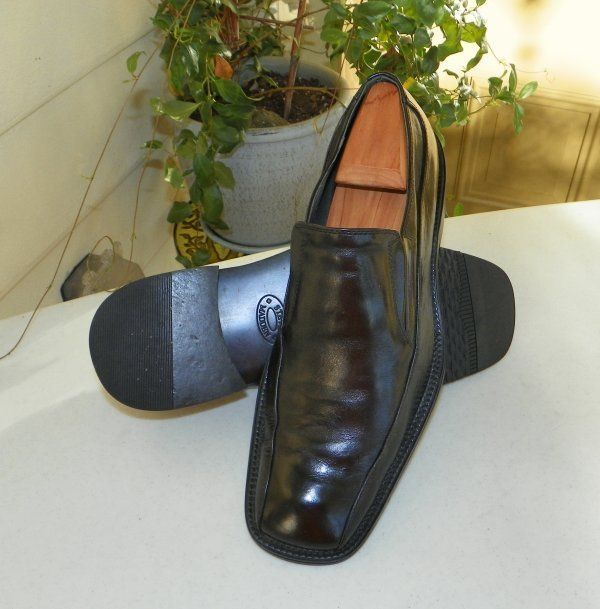 STEVE MADDEN Black Dress Loafers Shoes Mens 9.5 EUC