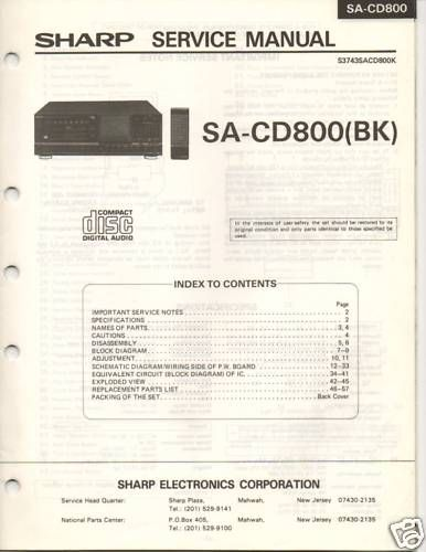 Original Service Manual Sharp SA CD800(BK) CD Player