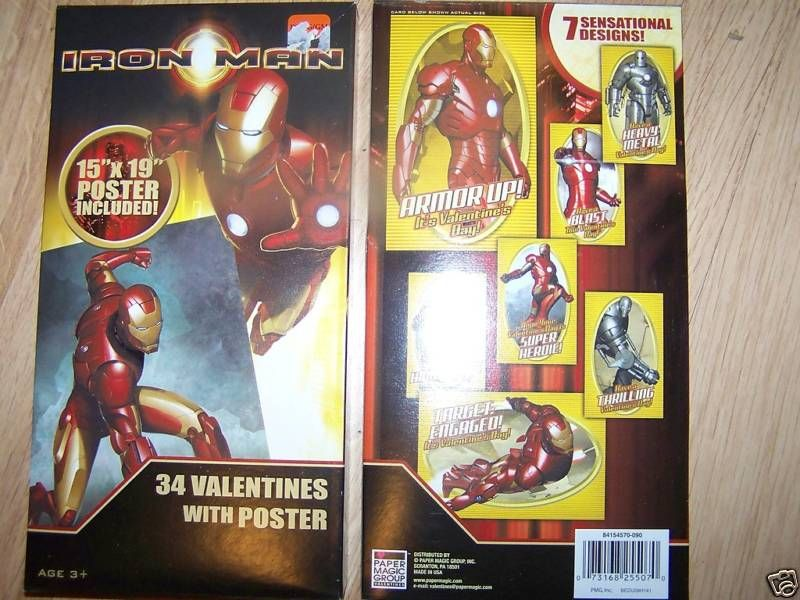 Box of 34 Iron Man Valentines Day Cards w Poster New
