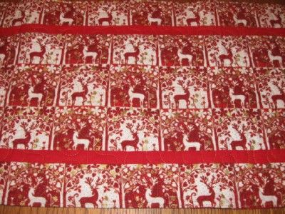 Handmade Quilted Table Runner Christmas reindeer red white gold
